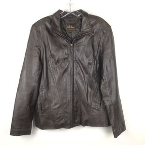 COLE HAAN Brown LEATHER Zip Up Jacket Size L